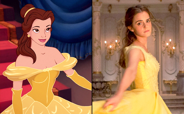 Belle (Voiced by Paige O'Hara) in 1991's Beauty and the Beast and Emma Watson as Belle in 2017's Beauty and the Beast