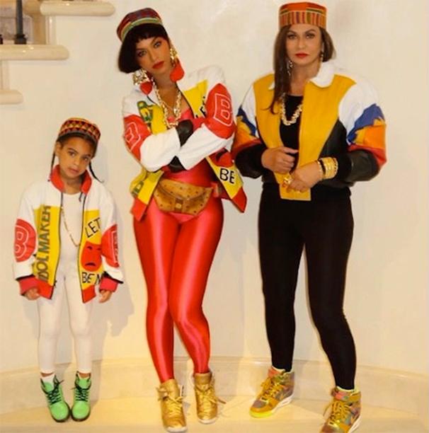Blue Ivy, Beyonce, and Tina Knowles as Salt, Pepa, and DJ Spinderella