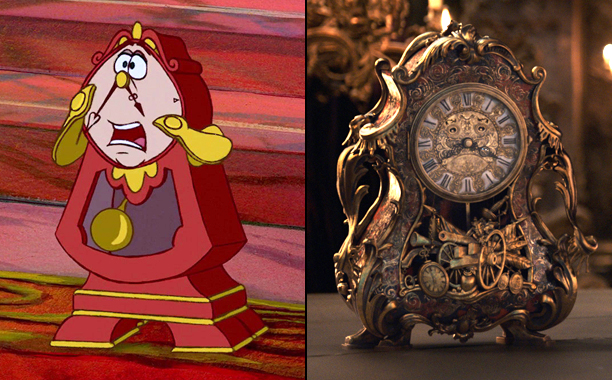 Cogsworth (Voiced by David Ogden Stiers) in 1991's Beauty and the Beast and Cogsworth (Voiced by Ian McKellen) in 2017's Beauty and the Beast