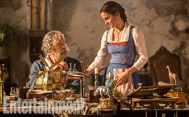 Kevin Kline as Maurice and Emma Watson as Belle