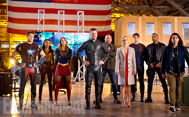 Nick Zano, Maisie Richardson-Sellers, Melissa Benoist, Stephen Amell, Dominic Purcell, Emily Bett Rickards, Brandon Routh, David Ramsey, and Carlos Valdes
