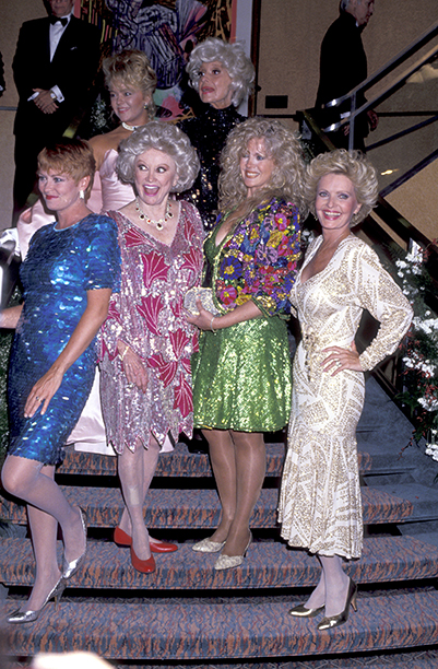 Florence Henderson With Lauren Tewes, Carol Channing, Jill Whelan, and Connie Stevens at a Love Boat Reunion on August 8, 1991