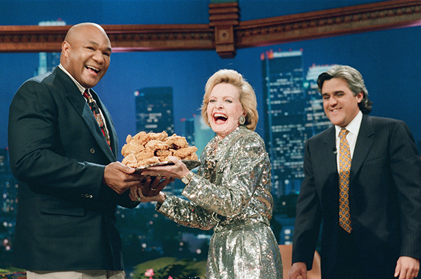 Florence Henderson With George Foreman and Jay Leno on The Tonight Show with Jay Leno on December 1, 1994