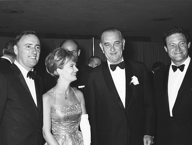 Florence Henderson With President Lyndon Johnson, Dick Martin, and Dan Rowan in Washington, D.C. on May 13, 1964