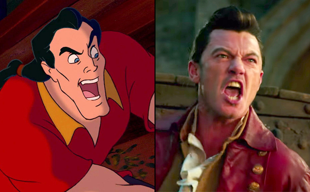 Gaston (Voiced by Richard White) in 1991's Beauty and the Beast and Luke Evans as Gaston in 2017's Beauty and the Beast