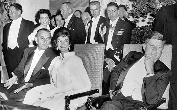 Lyndon B. Johnson, Jacqueline Kennedy, and John F. Kennedy at John F. Kennedy's 1961 Inaugural Ball