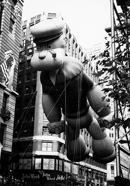 The Popeye Ballon at The Macy's Thanksgiving Day Parade in 1961