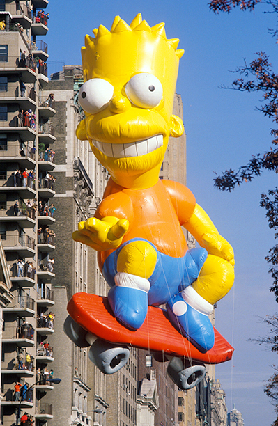 The Bart Simpson Balloon in The Macy's Thanksgiving Day Parade in 1990