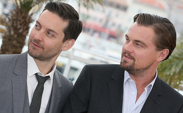 Leonardo DiCaprio With Tobey Maguire at the Photocall for The Great Gatsby at The 66th Annual Cannes Film Festival on May 15, 2013