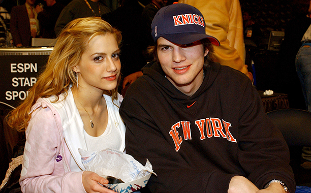 Brittany Murphy With Ashton Kutcher at the 2003 NBA All-Star Game in Atlanta on February 9, 2003