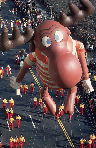 The Bullwinkle Balloon at The Macy's Thanksgiving Day Parade in November 1975