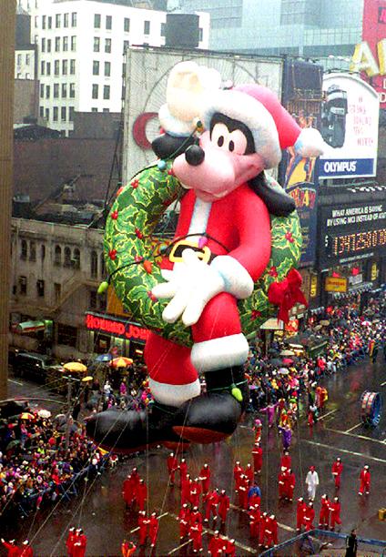 A Goofy Balloon at The Macy's Thanksgiving Day Parade on November 26, 1992