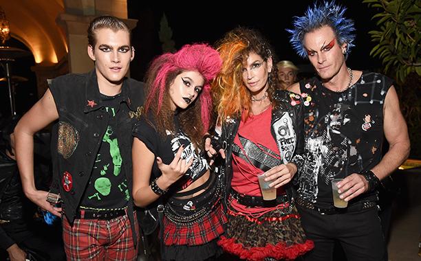 Presley Walker Gerber, Kaia Jordan Gerber, Cindy Crawford, and Rande Gerber as Punk Rockers