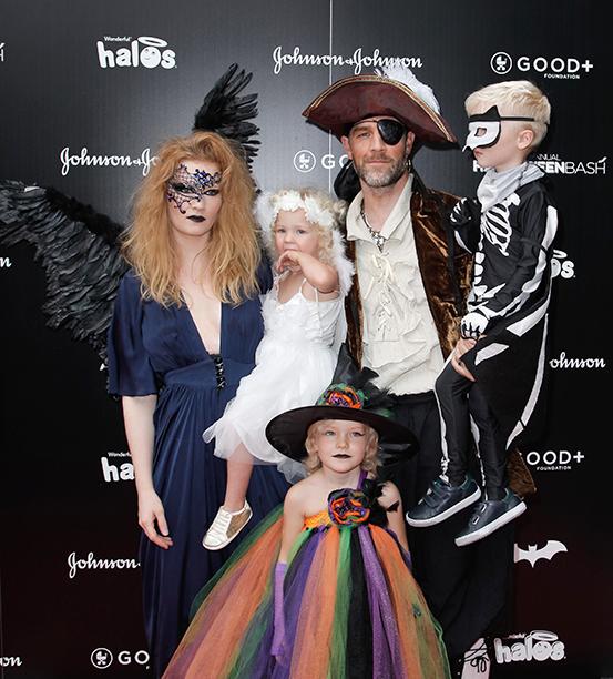 Kimberly Van Der Beek as a Dark Angel, James Van Der Beek as a Pirate, and Their Children as a Witch, Skeleton Bat, and Angel