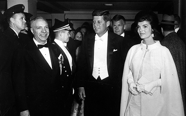 John F. Kennedy and Jacqueline Kennedy at John F. Kennedy's Inaugural Ball in 1961
