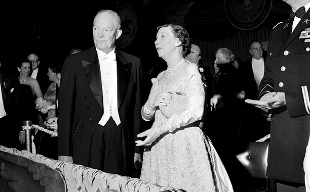 President Dwight Eisenhower With Mamie Eisenhower and John Eisenhower at Dwight Eisenhower's 1957 Inaugural Ball