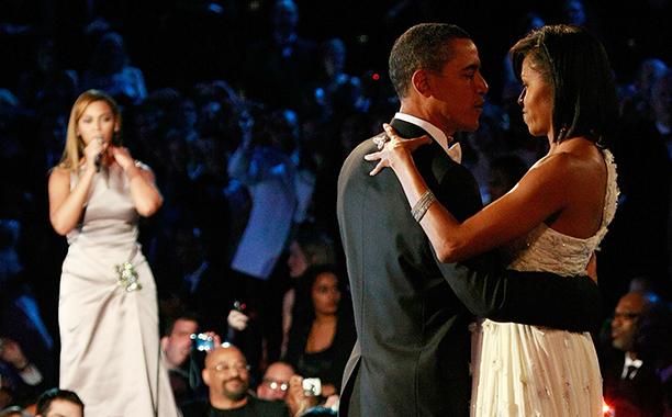 Beyonce, Barack Obama, and Michelle Obama at Barack Obama's Inaugural Ball in 2009
