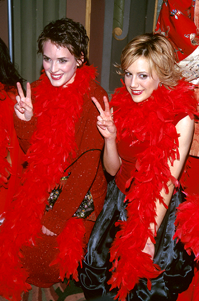 Brittany Murphy With Winona Ryder at Step Up Women's Network Presents V-Day 2000 in Los Angeles on February 16, 2000