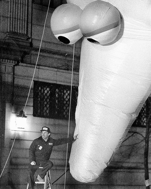 The Big Bird Balloon at The Macy's Thanksgiving Day Parade in 1988