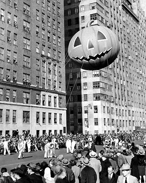 A Pumpkin Balloon at The Macy's Thanksgiving Day Parade in 1945