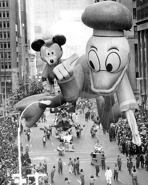 Donald Duck and Mickey Mouse Balloons at the Macy's Thanksgiving Day Parade on November 23, 1972