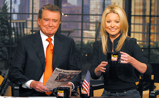 Regis Philbin and Kelly Ripa on Live! with Regis and Kelly on March 2, 2005