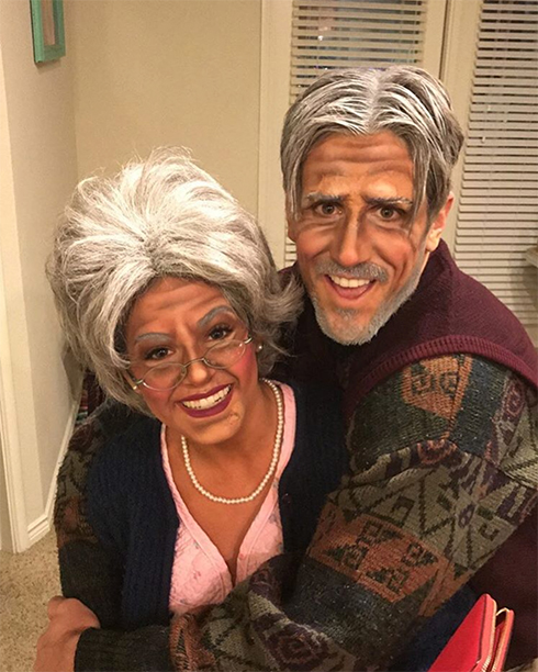 JoJo Fletcher and Jordan Rodgers as an Old Woman and Man