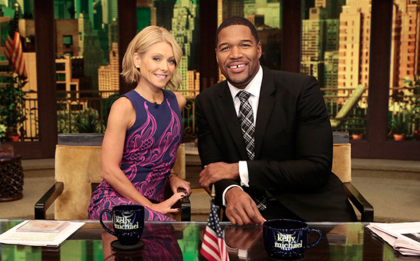 Kelly Ripa and Michael Strahan on Live! with Kelly and Michael on October 1, 2013