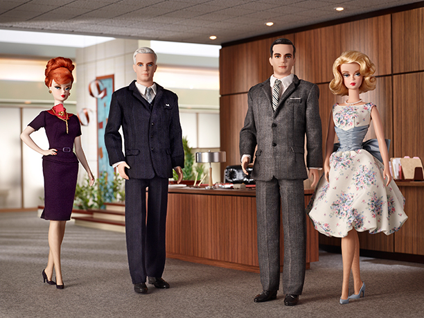 Christina Hendricks, John Slattery, Jon Hamm and January Jones as Joan Harris, Roger Sterling, Don Draper, and Betty Draper in Mad Men