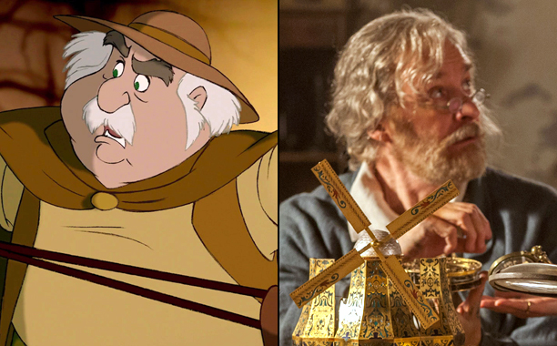 Maurice (Voiced by Rex Everhart) in 1991's Beauty and the Beast and Kevin Kline as Maurice in 2017's Beauty and the Beast