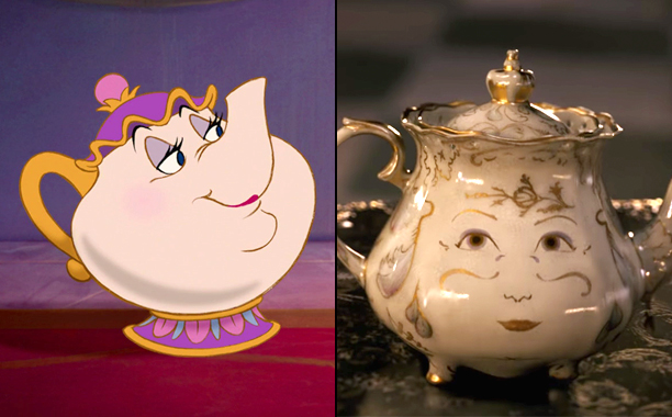 Mrs. Potts (Voiced by Angela Lansbury) in 1991's Beauty and the Beast and Mrs. Potts (Voiced by Emma Thompson) in 2017's Beauty and the Beast