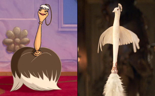 The Featherduster (Voiced by Kimmy Robertson) in 1991's Beauty and the Beast and The Featherduster (Voiced by Gugu Mbatha-Raw) in 2017's Beauty and the Beast