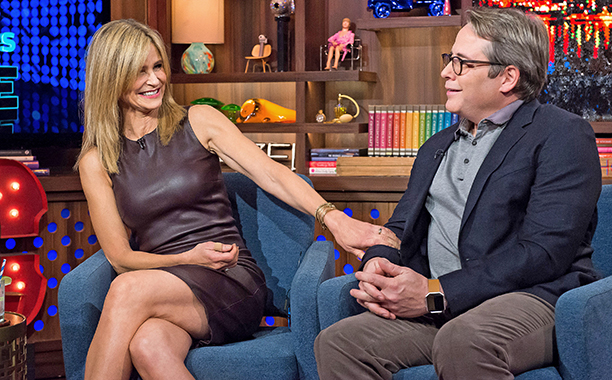 ALL CROPS: 626613108 WATCH WHAT HAPPENS LIVE -- Pictured (l-r): Kyra Sedgwick and Matthew Broderick -- (Photo by: Charles Sykes/Bravo/NBCU Photo Bank via Getty Images