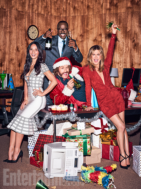 """ALL CROPS: GALLERY: """"Office Christmas Party"""", Olivia Munn, TJ Miller, Courtney B. Vance, and Jennifer Aniston photographed exclusively for Entertainment Weekly by Eric Ray Davidson on November 4th, 2016 in Los Angeles."""