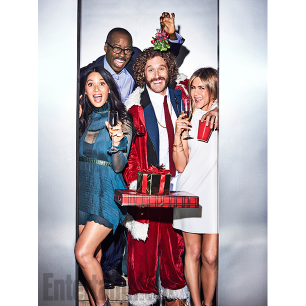 """ALL CROPS: GALLERY: The cast of """"Office Christmas Party"""", Olivia Munn, TJ Miller, Courtney B. Vance, and Jennifer Aniston photographed exclusively for Entertainment Weekly by Eric Ray Davidson on November 4th, 2016 in Los Angeles."""