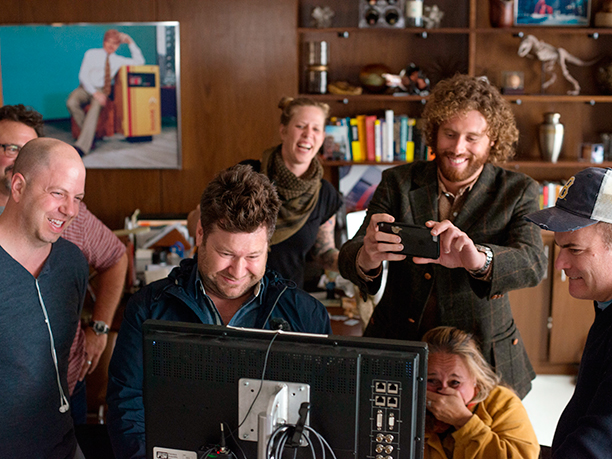 GALLERY: Office Christmas Party (2016)Director, Josh Gordon, Director, Will Speck, and T.J. Miller on the set of OFFICE CHRISTMAS PARTY
