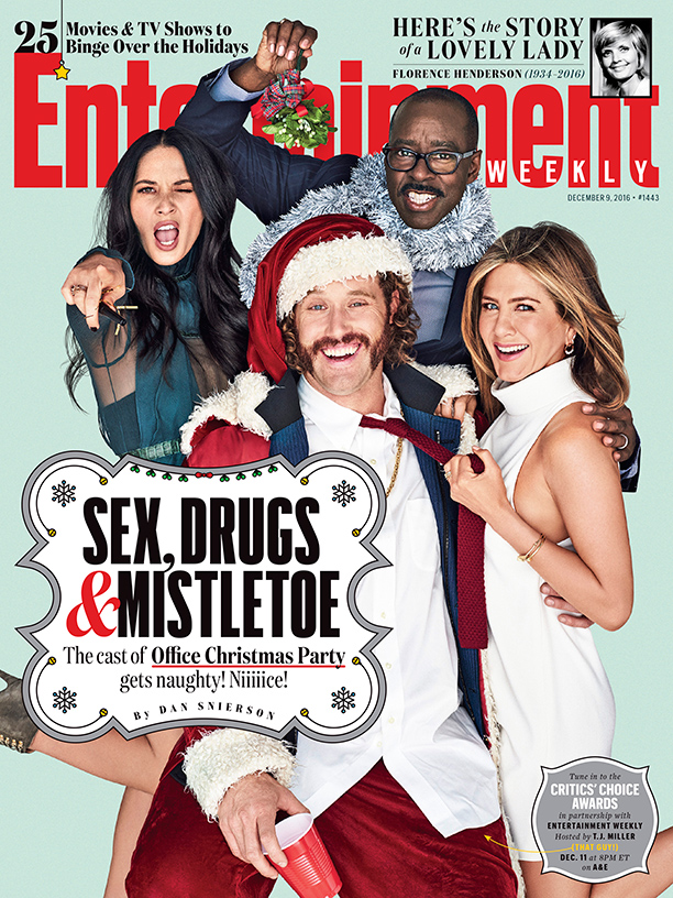 "ALL CROPS: EW COVER 1443 ""Office Christmas Party"", Olivia Munn, TJ Miller, Courtney B. Vance, and Jennifer Aniston photographed exclusively for Entertainment Weekly by Eric Ray Davidson on November 3rd, 2016 in Los Angeles."