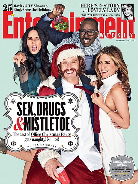 """GALLERY: EW COVER 1443 """"Office Christmas Party"""", Olivia Munn, TJ Miller, Courtney B. Vance, and Jennifer Aniston photographed exclusively for Entertainment Weekly by Eric Ray Davidson on November 3rd, 2016 in Los Angeles."""