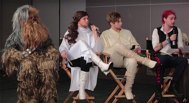 5 Seconds of Summer's Calum Hood as Chewbacca, Ashton Irwin as Princess Leia, Luke Hemmings as Luke Skywalker, and Michael Clifford as Han Solo