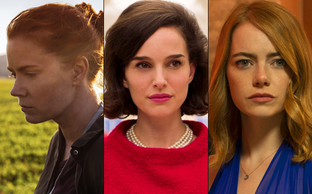 ALL CROPS: Amy Adams in Arrival, Natalie Portman in Jackie, and Emma Stone in La La Land