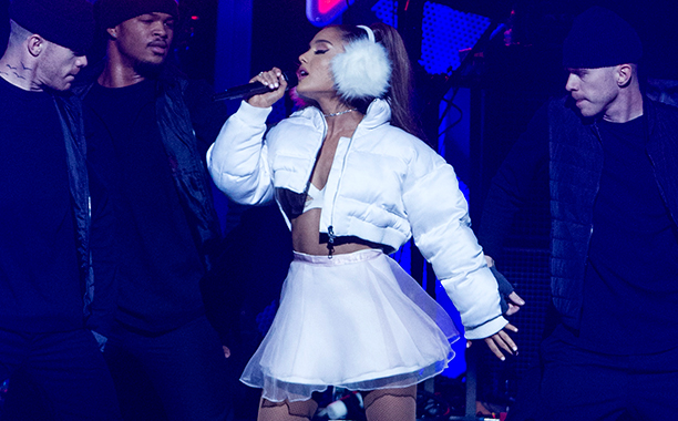 ALL CROPS: 629245422 Ariana Grande performs at TD Banknorth Garden during the KISS 108 iHeartRadio Jingle Ball presented by Capital One on December 11, 2016 in Boston, Massachusetts. (Photo by Scott Eisen/FilmMagic)