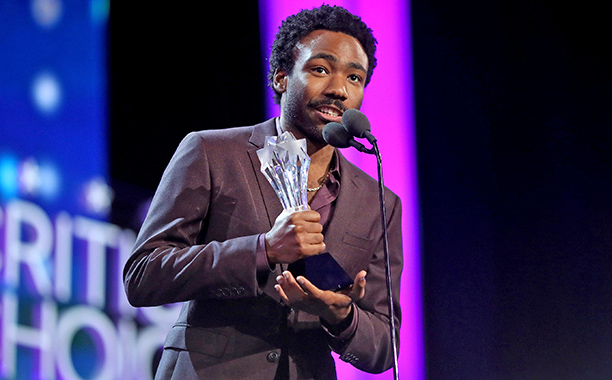 ALL CROPS: 629198382 Donald Glover accepts the Best Actor in a Comedy Series award for 'Atlanta' onstage during the The 22nd Annual Critics' Choice Awards at Barker Hangar on December 11, 2016 in Santa Monica, California. (Photo by Christopher Polk/Getty