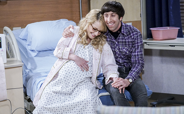 """ALL CROPS: """"The Birthday Synchronicity"""" -- Pictured Bernadette (Melissa Rauch) and Howard Wolowitz (Simon Helberg). Howard and Bernadette welcome their new baby and Sheldon and Amy celebrate Amy's birthday, on THE BIG BANG THEORY, Thursday, Dec. 15"""