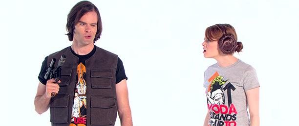 Bill Hader as Han Solo and Emma Stone as Princess Leia