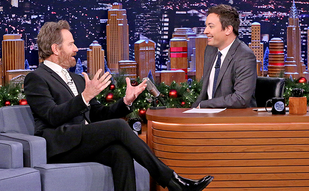 ALL CROPS: THE TONIGHT SHOW STARRING JIMMY FALLON -- Episode 0589 -- Pictured: (l-r) Actor Bryan Cranston during an interview with host Jimmy Fallon on December 12, 2016 -- (Photo by: Andrew Lipovsky/NBC)