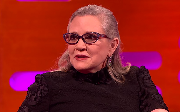 ALL CROPS: Carrie Fisher on The Harrison Ford Love Affair - The Graham Norton Show (screen grab)