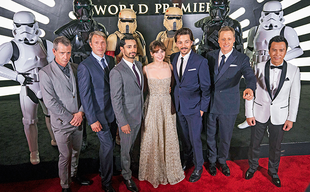 ALL CROPS: 16346163226227 The cast of Rogue One: A Star Wars Story at the World Premiere at The Pantages Theatre on Saturday, Dec. 10, 2016, in Hollywood, CA, where Nissan debuted their new Star Wars Limited Edition Nissan Rogue. (Photo by Colin Young-Wol