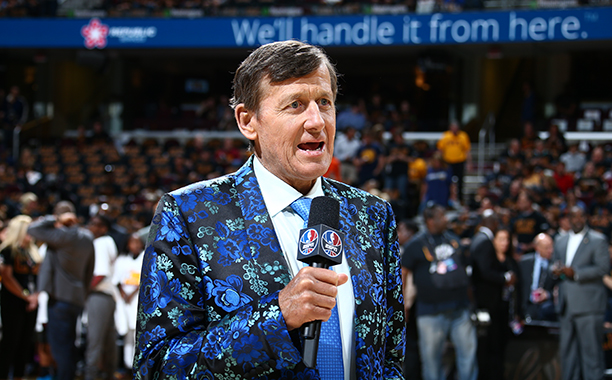 ALL CROPS: 541968516 Craig Sager attends the game between the Golden State Warriors and the Cleveland Cavaliers during Game Six of the 2016 NBA Finals on June 16, 2016 at Quicken Loans Arena in Cleveland, Ohio