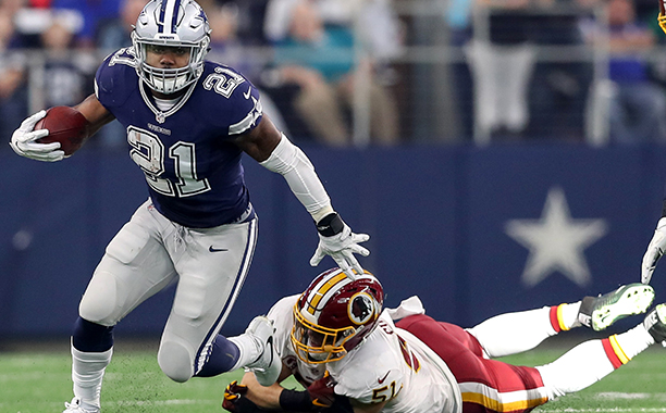 ALL CROPS: 625849762 Dallas Cowboys (RB) Ezekiel Elliott (21) breaks free from Redskins (LB) Will Compton (51) during the NFL game between the Dallas Cowboys and the Washington Redskins on November 24, 2016 at AT&T Stadium in Arlington, TX