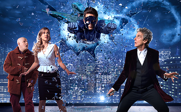 ALL CROPS: Doctor Who Christmas Special, The Return of Doctor Mysterio -- Picture shows: Matt Lucas as Nardole, Charity Wakefield as Lucy, Justin Chatwin as The Ghost and Peter Capaldi as The Doctor CR: BBC America